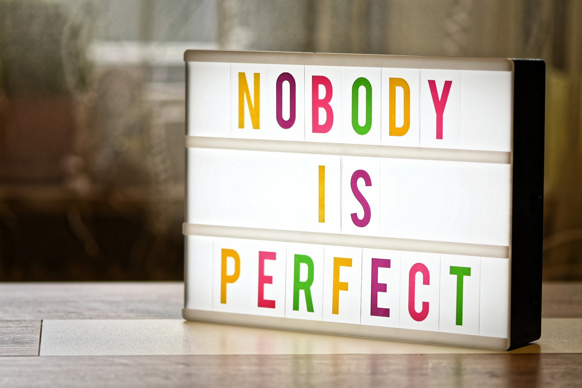 Light up sign with Nobody is Perfect on in in colorful letters.