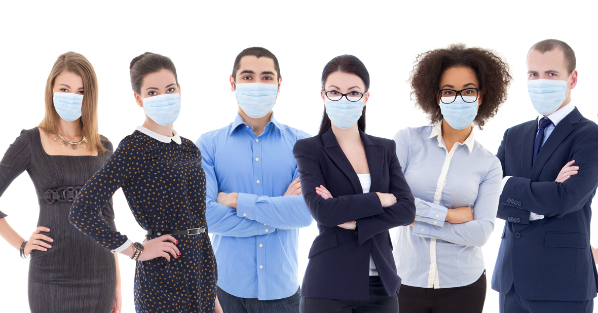 Group of business professionals wearing medical masks.